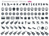 Libre de E-Commerce Icon Set Vector (106 mínimos iconos)