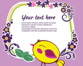 Vector Twiter Bird with Flower Frame-ove