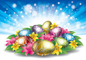 Glowing Easter Background with Eggs & Flowers