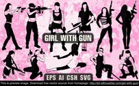 11 Vector girl with gun