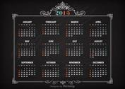Free Vector Retro Calendar 2015 On Blackboard
