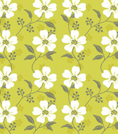 Seamless Wildflower Pattern with White Leaves