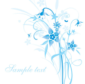 Simple hand-painted flowers and blue text background pattern