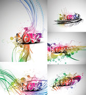 Cool Three-dimensional Art Of The Word Love Vector Material Cool Trendy Colorful