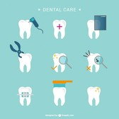 Dental care tooth icons