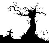 The Grave With The Dead Trees Silhouette