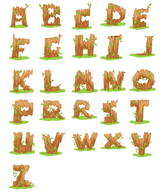Free Download vectors of wooden letters