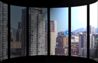 Penthouse view of city PSD
