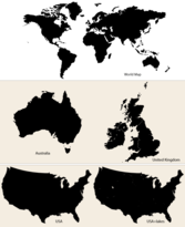 Vector Maps: World Map, Australia, UK and USA
