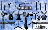 Vector Windmill Silhouettes Free