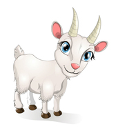 White goat cartoon eyes
