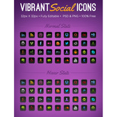 36 Vibrant Social Media Icons Pack PSD/PNG