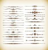 Borders and Dividers Decorative Vignette Elements Vector Set