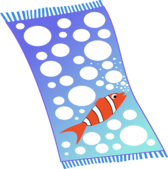 Towel blue with white bubbles and red fish with white strips