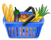 Fruits and vegetables and shopping baskets 05 - vector mater