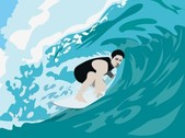 Free Vector Surfer and Wave