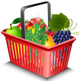 Fruits and vegetables and shopping baskets 02 - vector mater