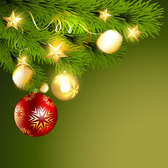 Green Christmas Background with Balls & Branch