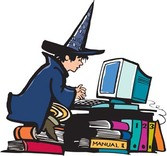 Witch playing computer