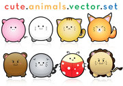 Cute Puffy Animals vector Free