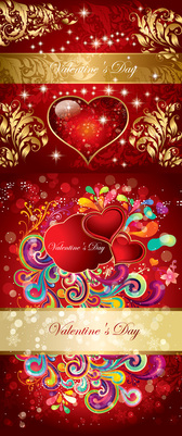 Valentine's Gorgeous Pattern Vector Material Valentine's Day Crystal Style Gold