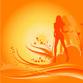 Female dancer silhouette with the trend of design elements v