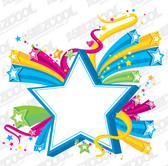 Three-dimensional colorful stars theme