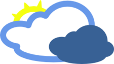 Heavy Clouds And Sun Weather Symbol