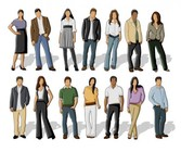 14 Simplistic People Vector Graphics Set