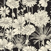 Vintage brown flower seamless pattern on black