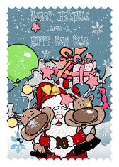 Funny Santa Claus With Deer