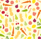 Color fruits vegetables seamless background