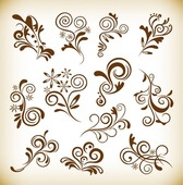 Vintage Abstract Floral Elements Vector Graphics Set