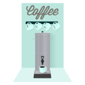 Coffee Percolator, Cups, and Sign