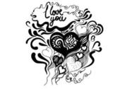 Hand Drawn Heart Vector Poster