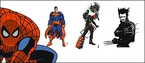 Spiderman superman cartoon film characters