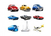 9 Classic Cars & Transport Vehicles icons