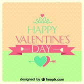 Valentine's Day Retro Card Polka Dots Heart Design