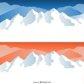 cartoon snow capped mountains