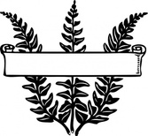 Scroll Ribbon Title Over Ferns