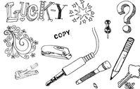 A set of hand drawn objects free