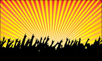 Radiation, cheering people silhouettes vector material happi