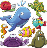 Cartoon cute marine animals