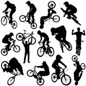 Cycling Sports Figures Silhouettes