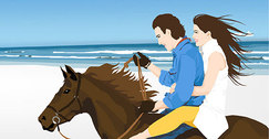 Young Couple Riding on a Horse