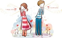 Cute Little Couple Vector 0115