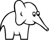 Cartoon Outline Elephant
