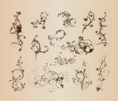 Swirling Flourishes Decorative Floral Elements Vector Illustration Set