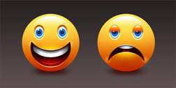 Happy and sad emoticons (PSD)