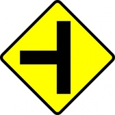Caution T Junction Road Sign